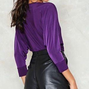 Nasty Gal Tops - Purple Nastygal Low-V Bodysuit